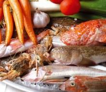 Cocina con pescado de roca