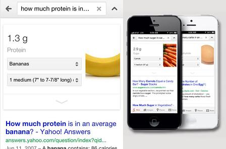 Google lanza información nutricional de más de 1.000 alimentos