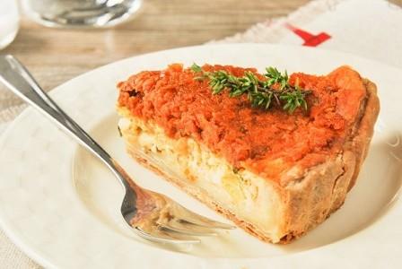 Tarta de ricotta con tomates
