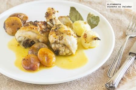 Pollo asado con salsa de mandarinas y frutas secas