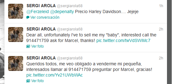 Arola anuncia que vende su moto a través de Twitter