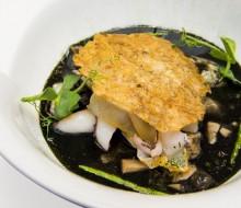Fabes verdes, texturas de calamar, manitas tostadas y salicornia